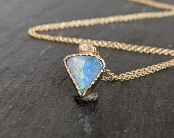 Boulder opal gold necklace, opal necklace, opal gold pendant, opal and diamond necklace, October birthstone, minimalist necklace women gift.