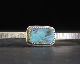 Boulder opal gold and silver cuff bracelet, Australian opal silver and gold cuff, October birthstone silver cuff bracelet, opal women cuff.