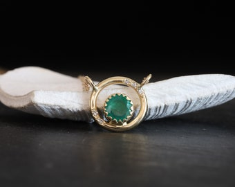Emerald diamonds gold necklace, emerald diamonds halo 14k gold necklace, Colombian emerald and diamonds gold necklace, May birthstone gift.