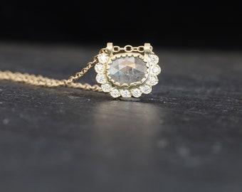 Diamonds gold necklace, minimalist diamonds gold necklace, rose cut diamond necklace, rustic diamond gold necklace, April birthstone gift.