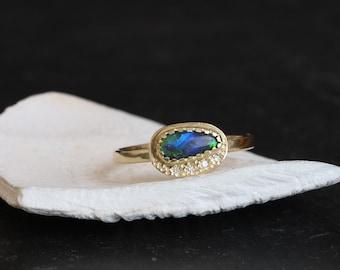 Black opal diamonds gold ring, Australian black opal and diamonds gold ring, opal and diamonds halo gold ring, October birthstone gold ring.