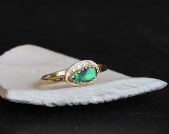 Black opal diamonds gold ring, Australian black opal and diamonds gold ring, opal and diamonds halo gold ring, October birthstone gold ring