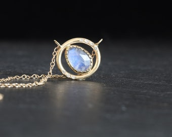 Moonstone diamonds gold necklace, diamonds halo gold necklace, moonstone diamonds circle 14k gold necklace, June birthstone gold necklace.