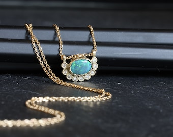 Black opal and diamonds necklace, Australian black opal gold necklace, opal and diamonds halo necklace, October birthstone gold necklace.