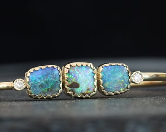 Australian boulder opals gold cuff with diamonds accent, opals gold cuff bracelet, opals diamonds 14k gold cuff, October birthstone cuff.