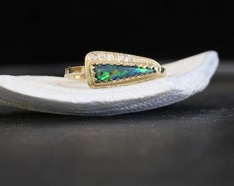 Black opal and diamonds gold ring, Australian black opal yellow gold ring, opal diamonds 14k yellow ring, October birthstone women gold ring
