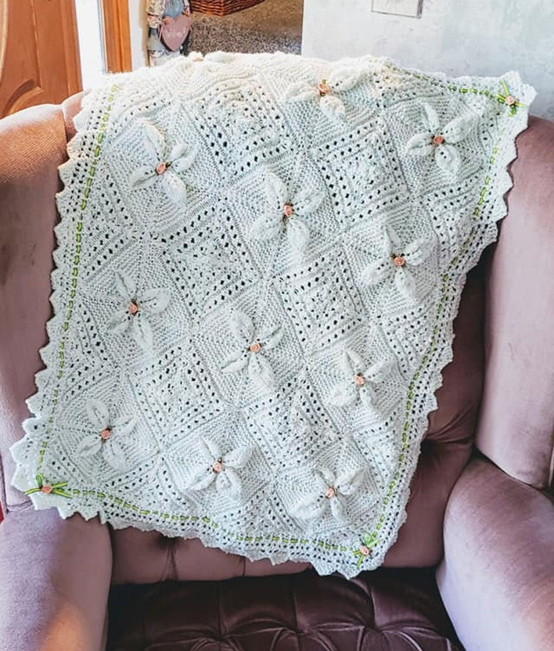 Knitted Lacey Pram Blanket