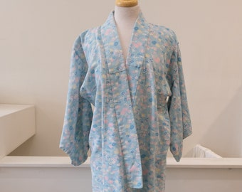 1950/'s Vintage Summer Light Color Purple White Abstract Print Pattern Design on light weight rayon FULL Length Kimono Dressing Gown Robe