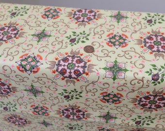 1950/'s Vintage Olive Rust White Fern Beige Floral Rayon Acetate Fabric Print  2  yards 12 long by 44 wide Fabulous Autumn Toned Print