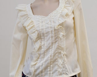 10999dbd6ac5b5 1970 s Vintage Gunne Sax Prairie Girl Puff Long Sleeve Blouse in Natural  Tone   Ivory Size 9 or xs Button Back   Back Front Ruffles Appliqué