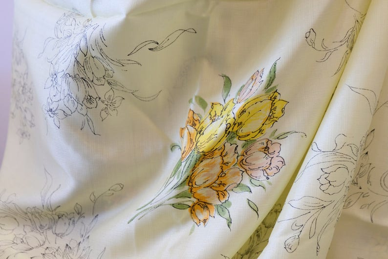 1950/'s Vintage Fresh Buttery Yellow Shiny Rayon w Orange Melon /& Green Floral Print Summer Weight Novelty Fabric 2 yards 17 by 44 wide