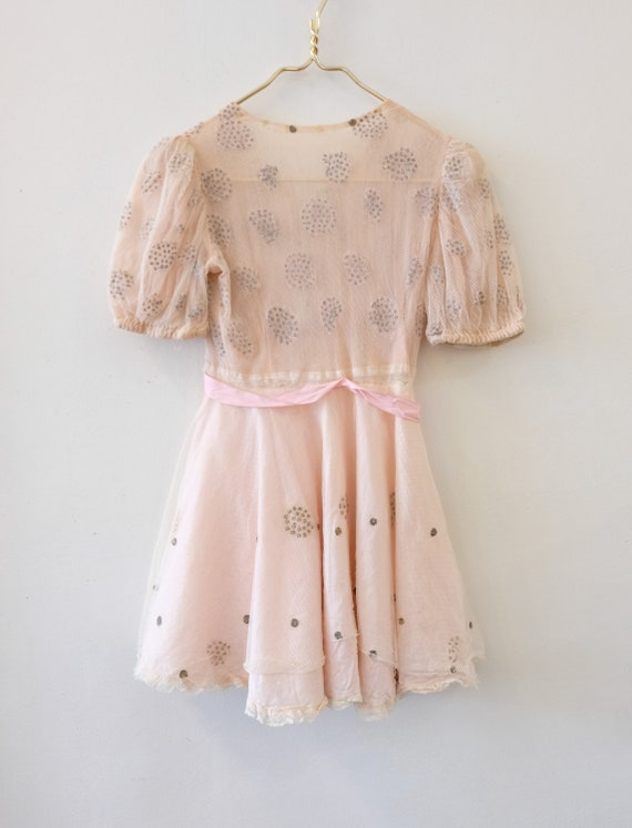 1930's Vintage Girls Cotton Pale Pink with Cream … - image 9