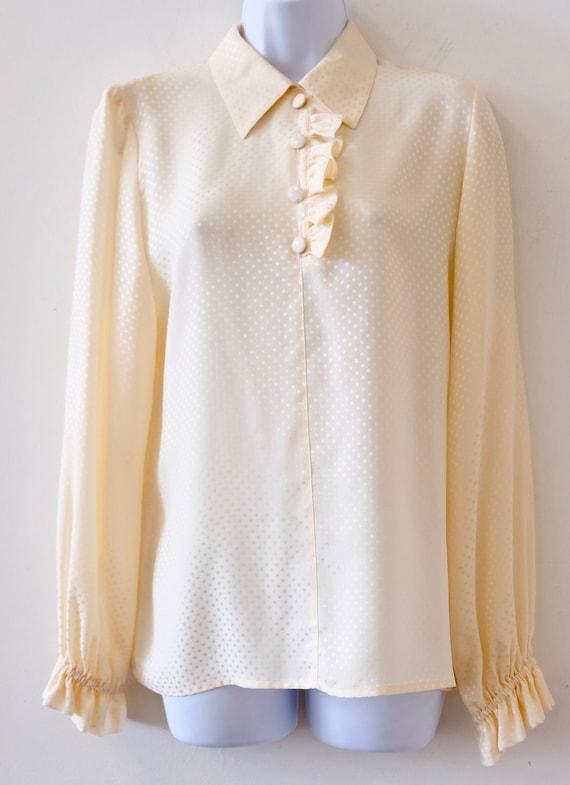1980's Vintage Ivory Valentino Womens Silk Shirt B