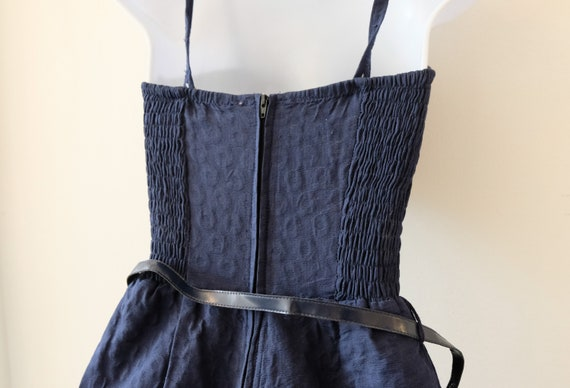 1950's Vintage Blue Embossed Cotton Play Suit Rom… - image 8