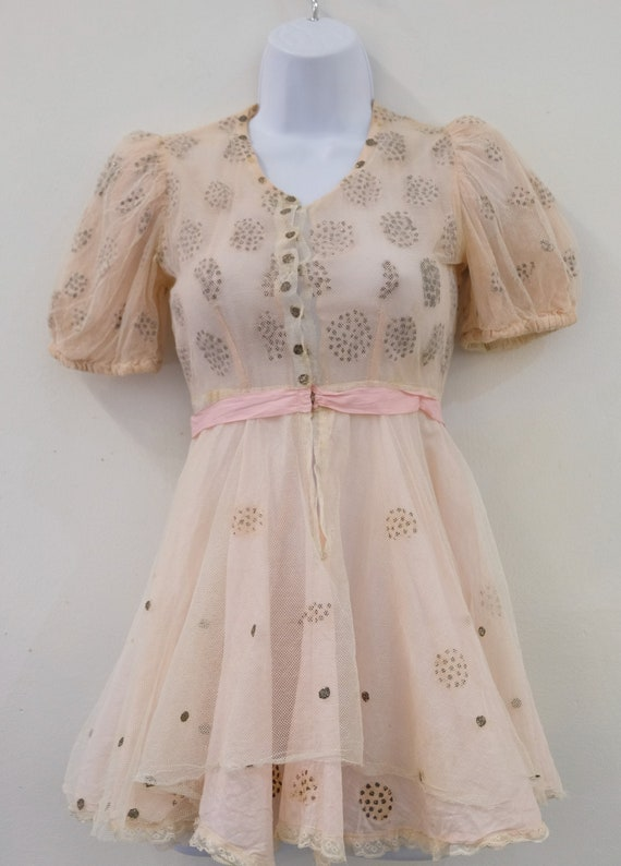 1930's Vintage Girls Cotton Pale Pink with Cream … - image 1