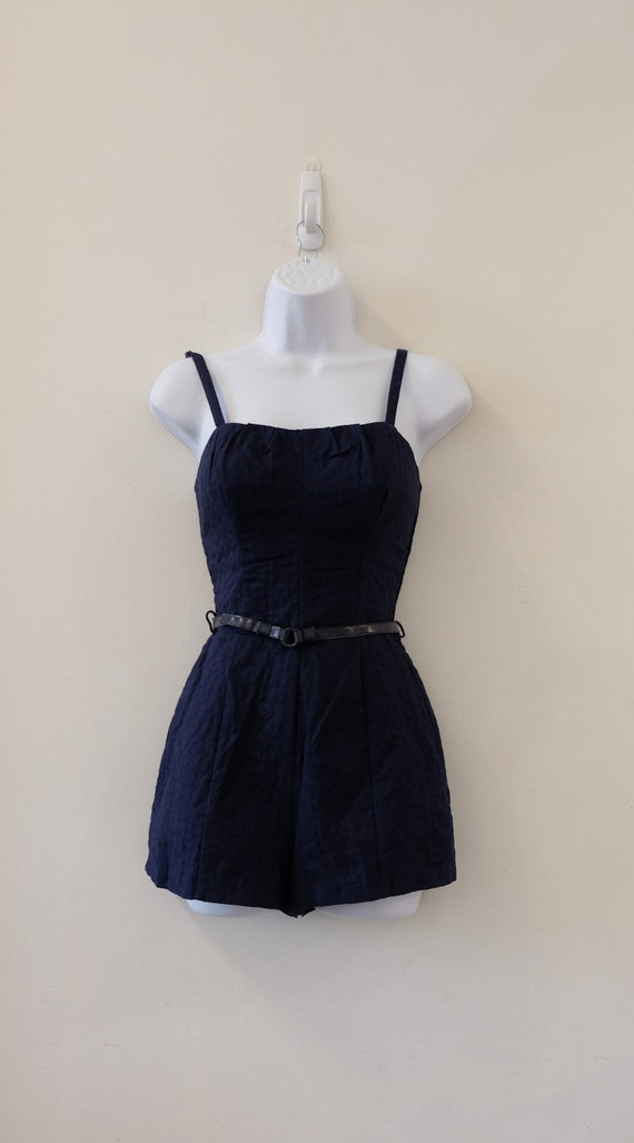 1950's Vintage Blue Embossed Cotton Play Suit Rom… - image 1