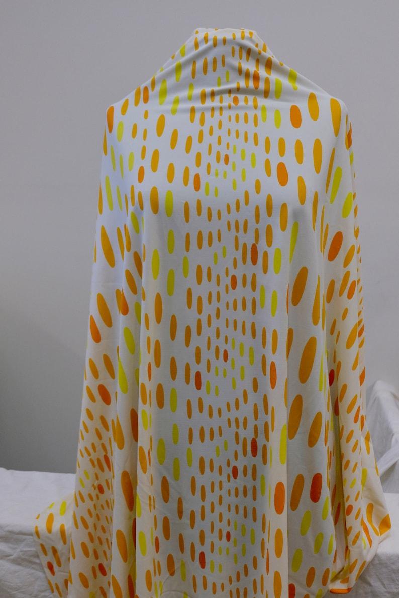 1980/'s Vintage Melon Yellow Orange White Swim Suit Lycra Fabric 1 yard 27 by 36 wide Obtuse Slurred Polka dots Bikini or 1 Piece Swimsuit