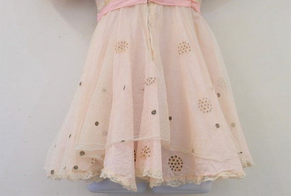 1930's Vintage Girls Cotton Pale Pink with Cream … - image 7
