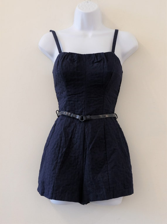 1950's Vintage Blue Embossed Cotton Play Suit Rom… - image 3