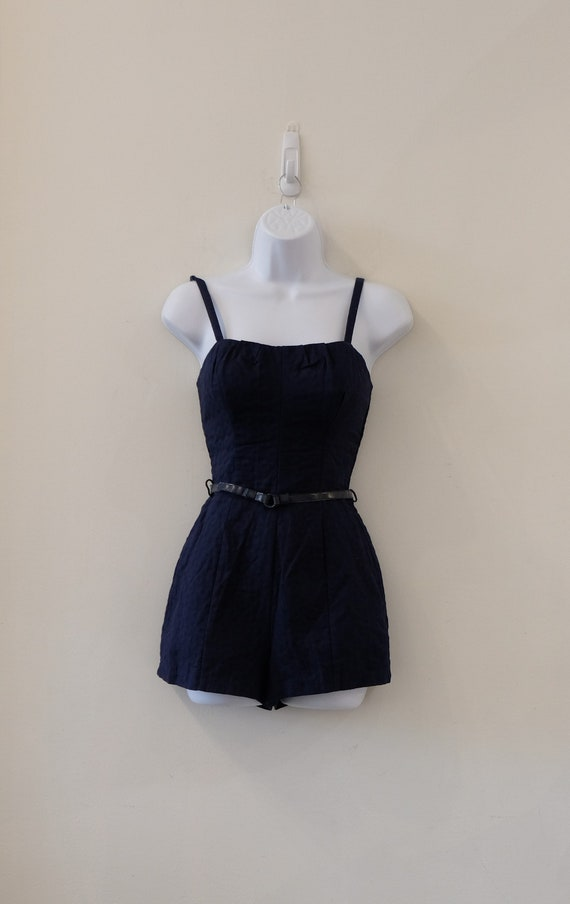 1950's Vintage Blue Embossed Cotton Play Suit Rom… - image 5