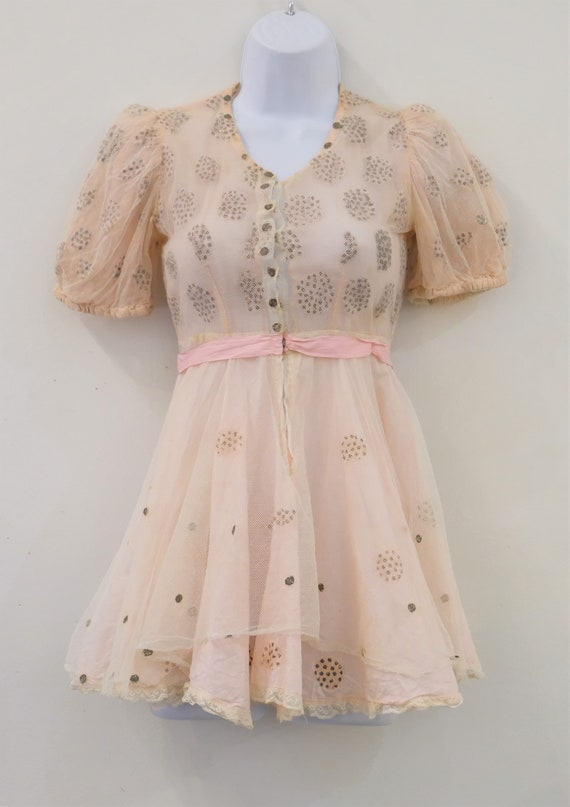 1930's Vintage Girls Cotton Pale Pink with Cream … - image 6