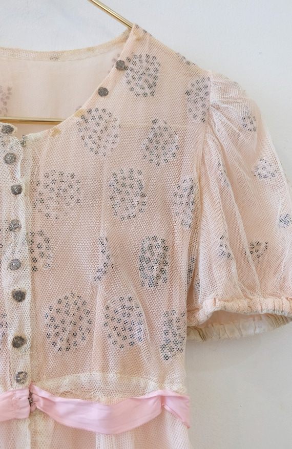 1930's Vintage Girls Cotton Pale Pink with Cream … - image 10