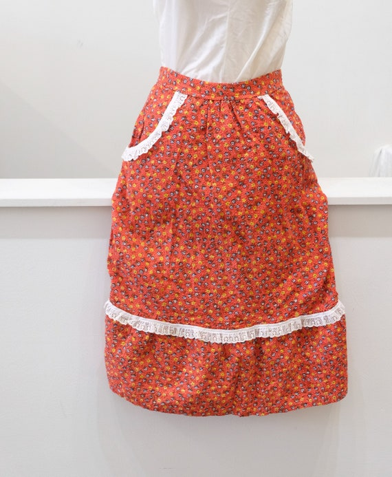 1970's Vintage Orange Red ColoRed Calico Skirt wit