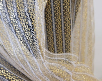 "1970's Vintage Sheer Gold Octagonal Pattern with White STRIPED Lace Tulle Mesh Filmy Sheer Synthetic Fabric 1 Yard 18"" by 29"" wide Crinoline"