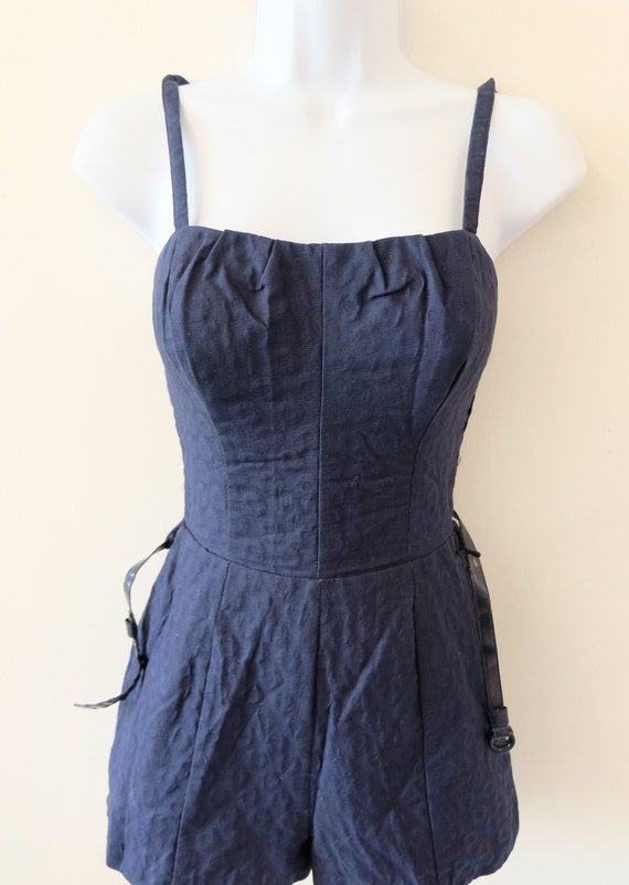 1950's Vintage Blue Embossed Cotton Play Suit Rom… - image 2