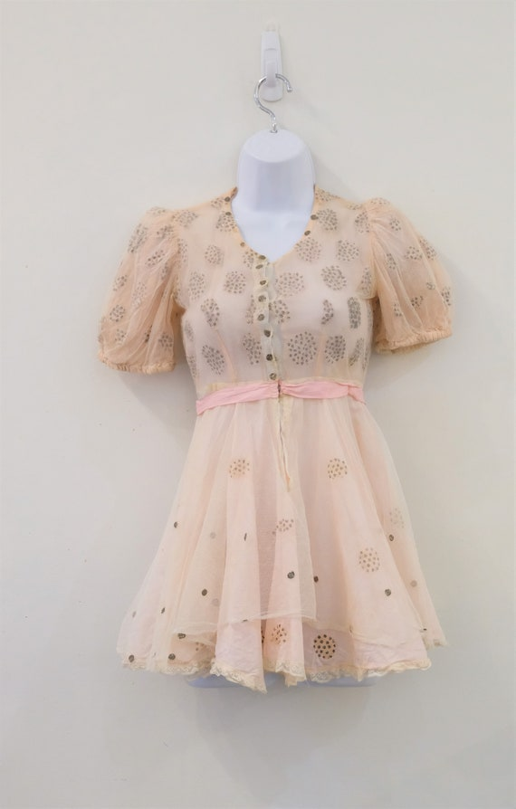 1930's Vintage Girls Cotton Pale Pink with Cream … - image 4