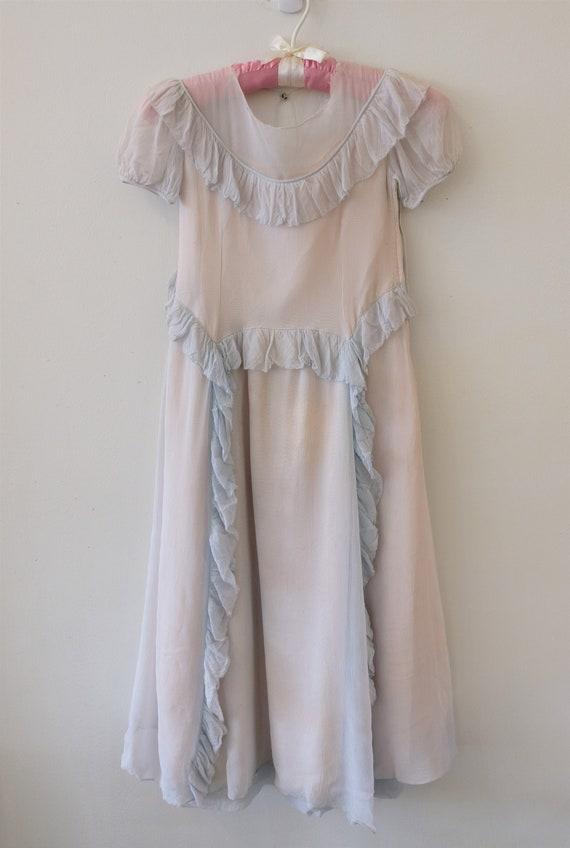 1940's Vintage Girls Pale Blue Crepe Party Dress R