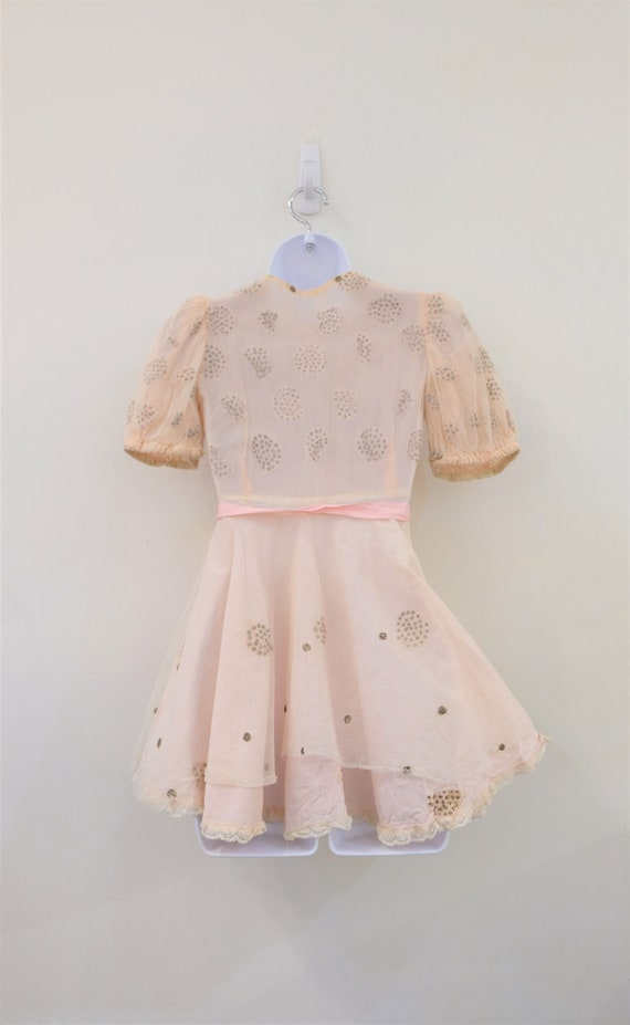 1930's Vintage Girls Cotton Pale Pink with Cream … - image 5