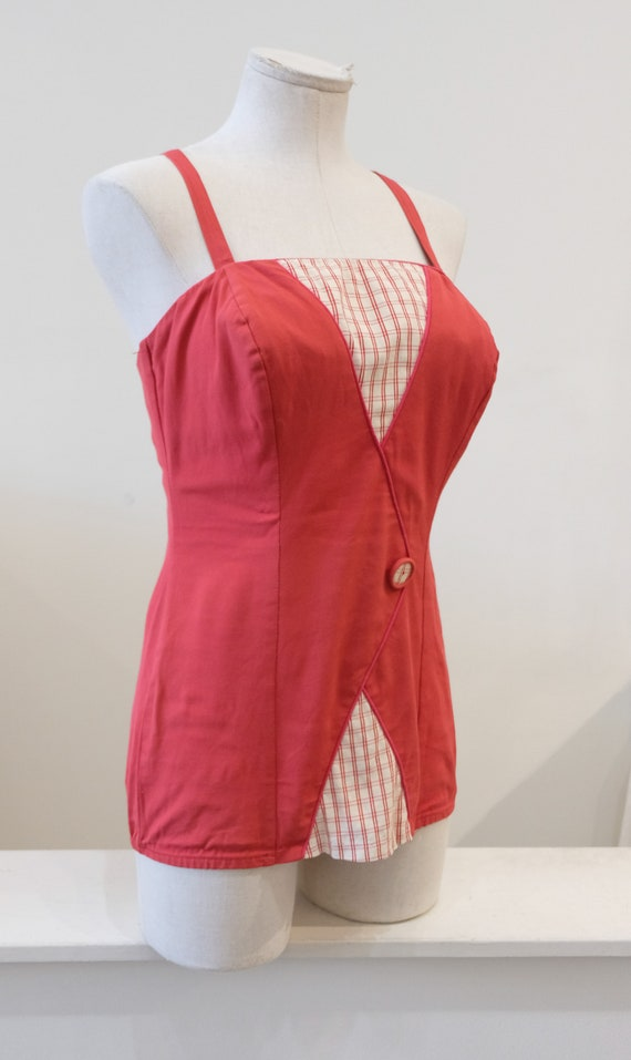 1940's One Piece Red Swimming Suit w/ White Plaid