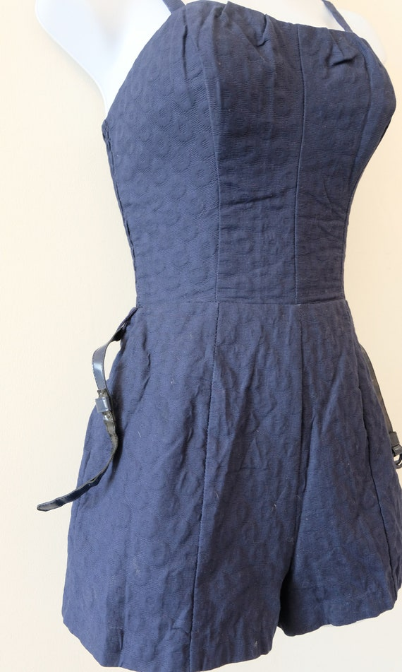 1950's Vintage Blue Embossed Cotton Play Suit Rom… - image 6