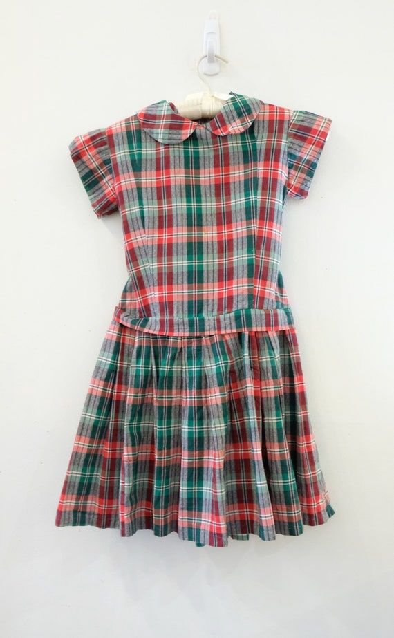 Vintage 1960s drop waist school girl style red checked bodice full black skirt collared dress