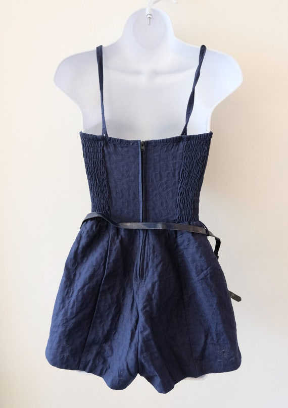 1950's Vintage Blue Embossed Cotton Play Suit Rom… - image 7