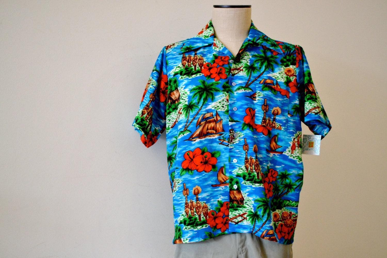 1970s Men's Shirt Styles – Vintage 70s Shirts for Guys 1970s Vintage Nylon Hawaiian Tiki Hawaiin Grass Hut Hula Girls Mens Shirt - Medium Vancort 100 Polyester $30.00 AT vintagedancer.com