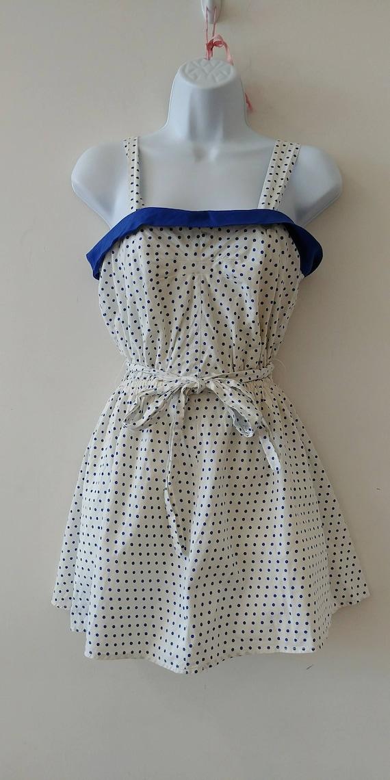 1950's Vintage White with Blue Polka dot cotton sw