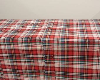 """1970's Vintage Standard Perfect Plaid Light Weight Cotton Fabric  2 yards by 36"""" wide  Yellow, Blue, Green, White, Black and Red"""