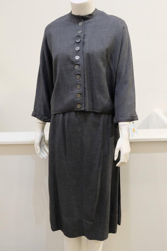 1950's Vintage Grey Gaberdine Two Piece Skirt and
