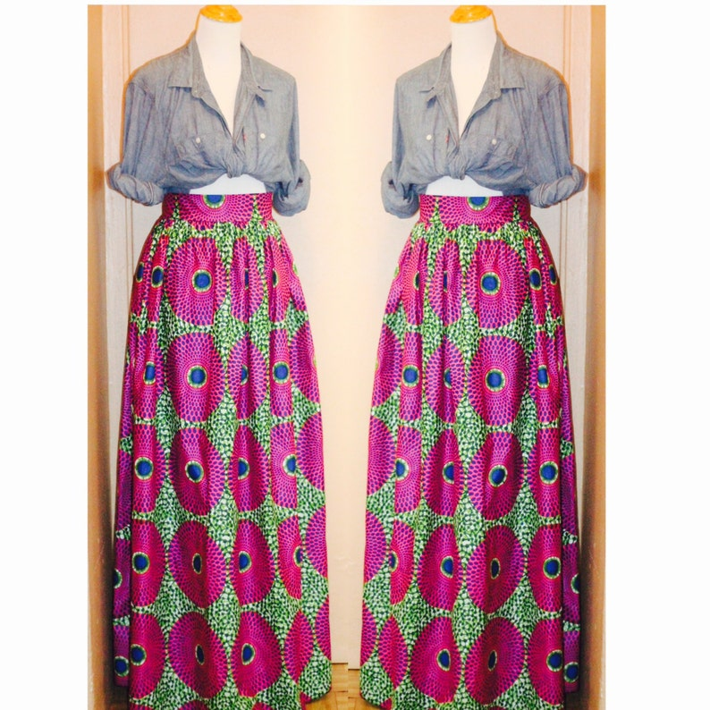 f807fc7bac64 Pink Blue and Green African skirt African clothing African