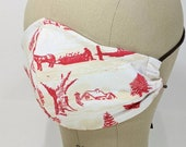 Winter toile red and ivory mask