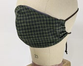 Very dark green and black gingham check mask