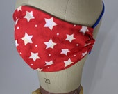 Red and white stars mask