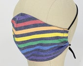 Gorgeous Rainbow Stripe on indigo mask