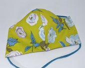 Retro flower mask in chartreuse