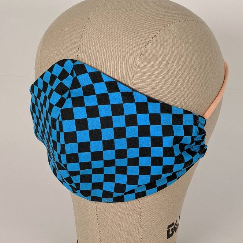 Sk8r turquoise and black check rad mask image 0