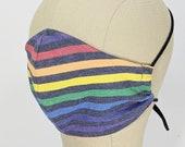 Gorgeous Rainbow Stripe on indigo mask