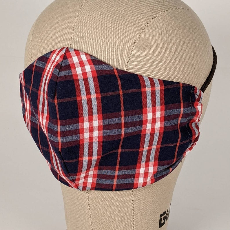 Red navy and white plaid mask image 0
