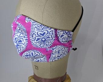Kaffe Fassett block print look pink purple and white paisley face mask